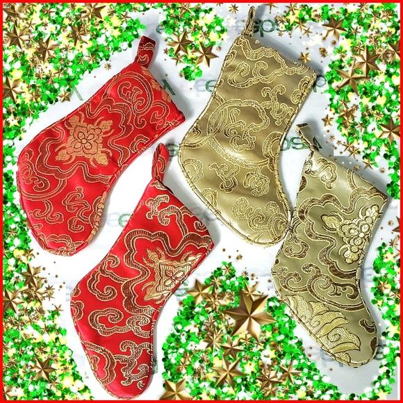 Vintage Christmas Stockings Damask Mini Silk …
